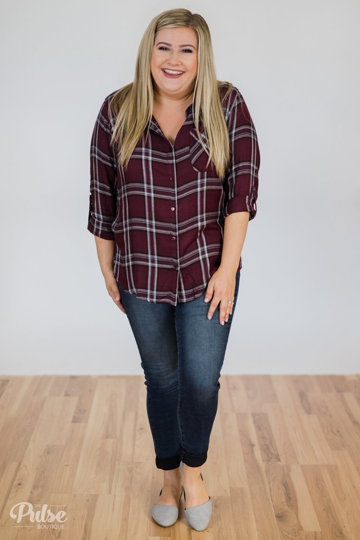 Easy Going Button Up Plaid Top- Plum Outfit