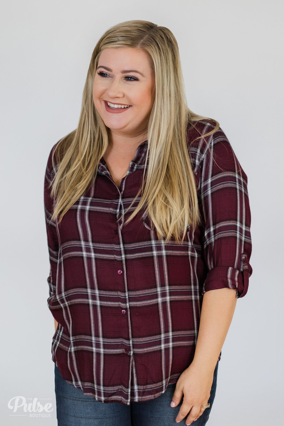 Easy Going Button Up Plaid Top- Plum