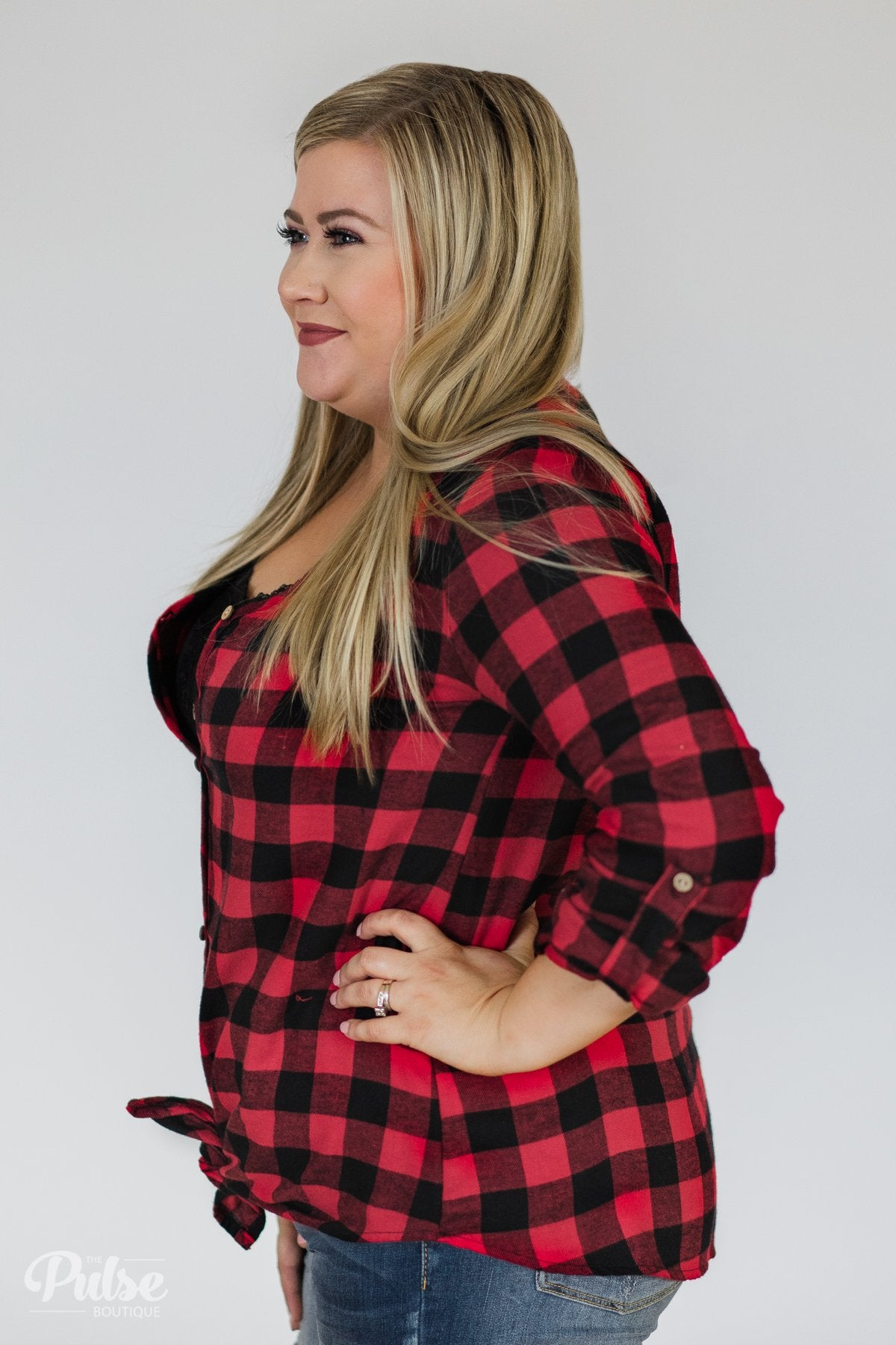Keep It Coming Buffalo Plaid Button Up Top