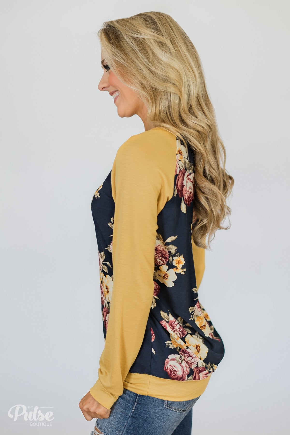 Always Room for Floral Top- Honey Yellow & Navy