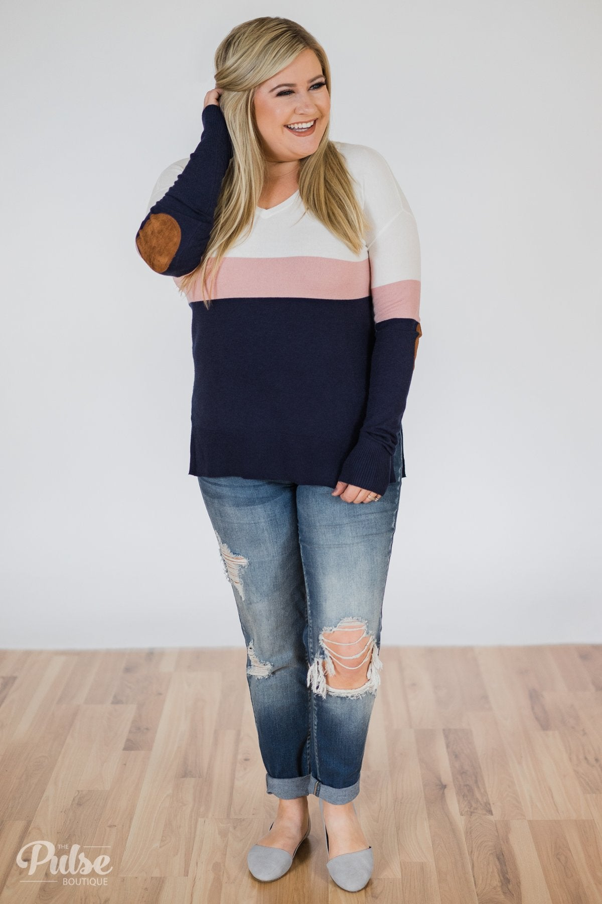 Adore You Color Block Sweater- Navy & Pink