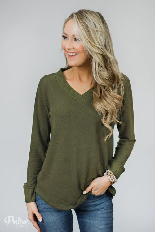 Can't Forget You V-Neck Top- Olive