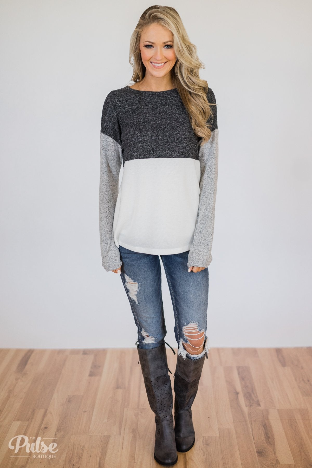 Can't Get Enough Color Block Top- Charcoal, Grey, Ivory