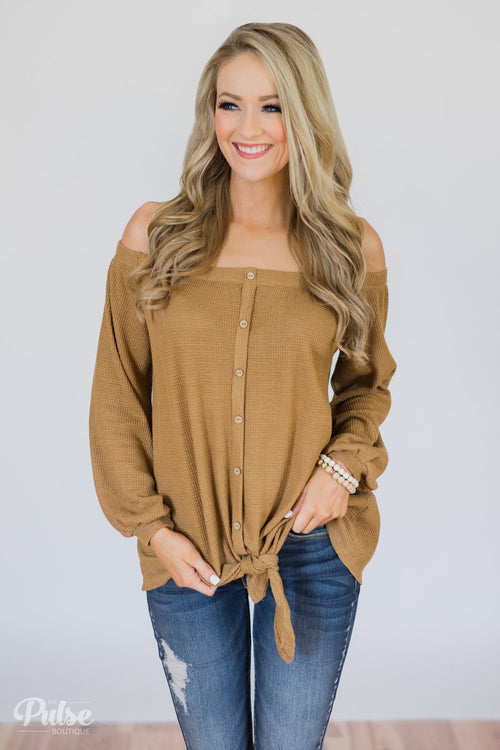 Thermal Off the Shoulder Button Top- Mustard