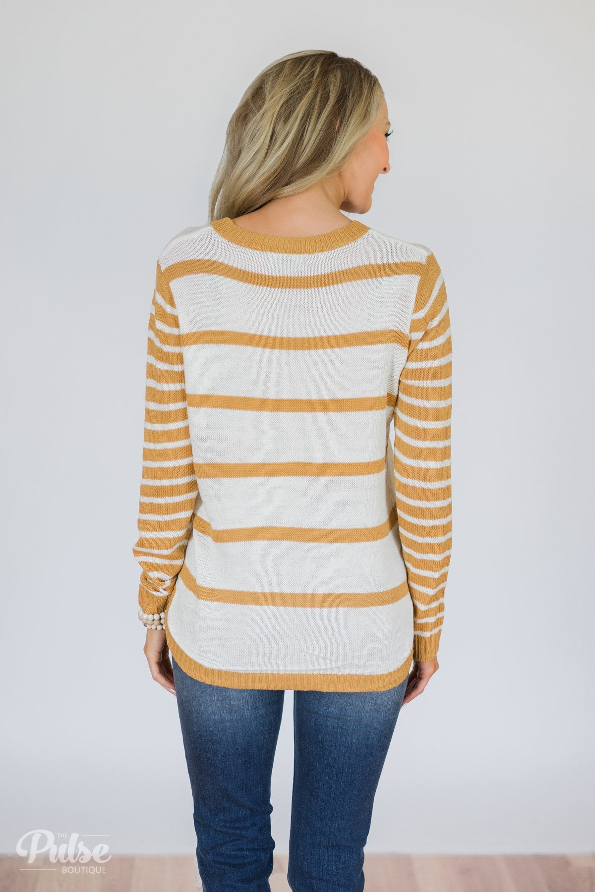 Good Things Coming Striped Knit Sweater- Golden Yellow