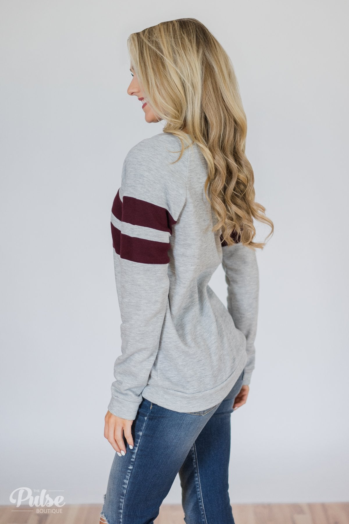 Softest Crewneck Ever- Heather Grey & Burgundy