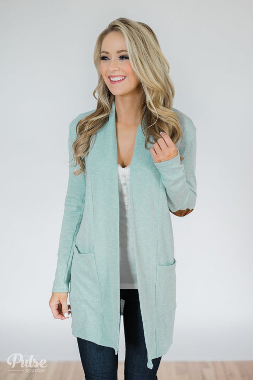 As Long As You Need Elbow Patch Cardigan- Bright Mint