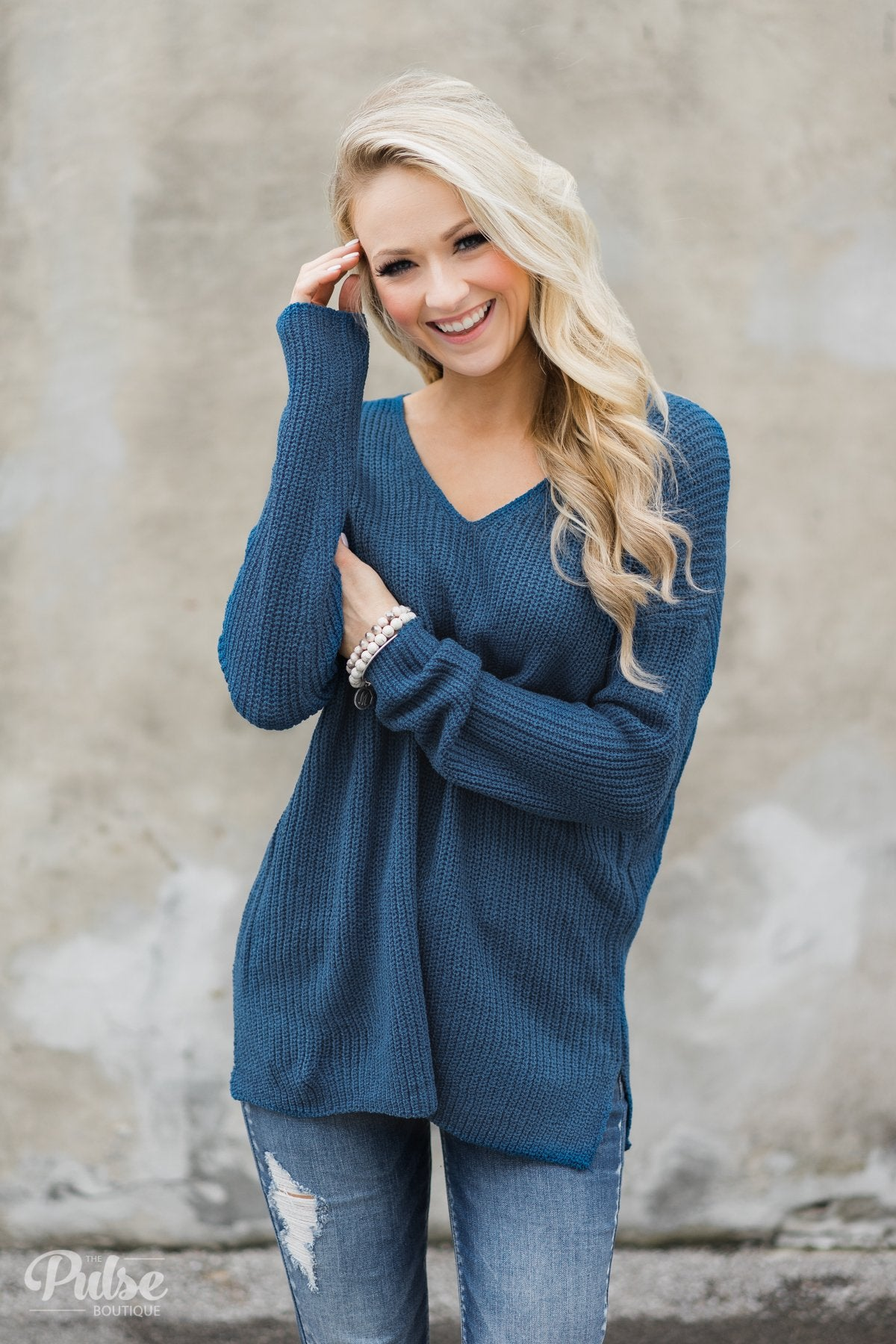 5c110feedd Snuggle Up Knitted Sweater- Enchanted Blue – The Pulse Boutique