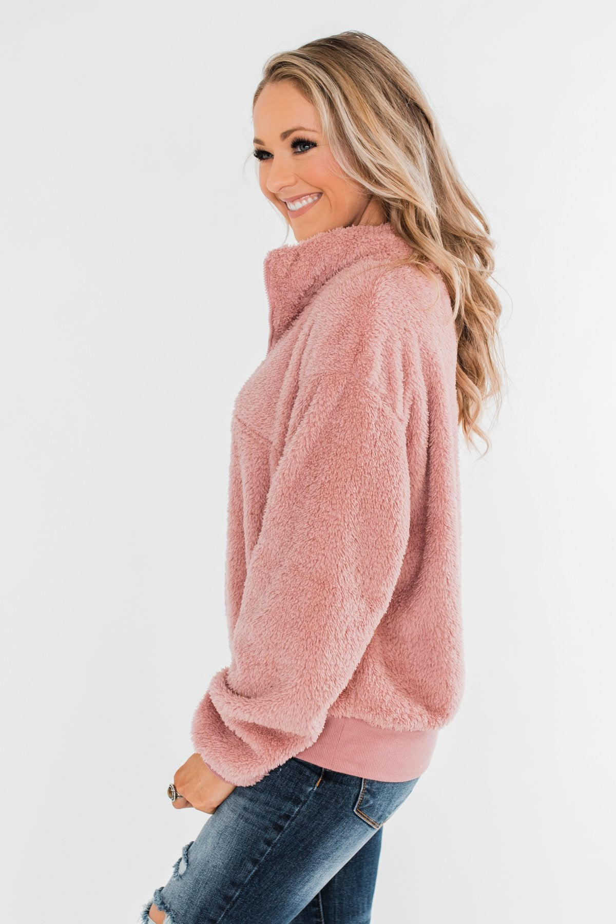 C'est Toi Quarter Zip Pullover Sherpa - Dusty Rose