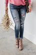 KanCan Distressed Skinny Jeans- Aztec Patch