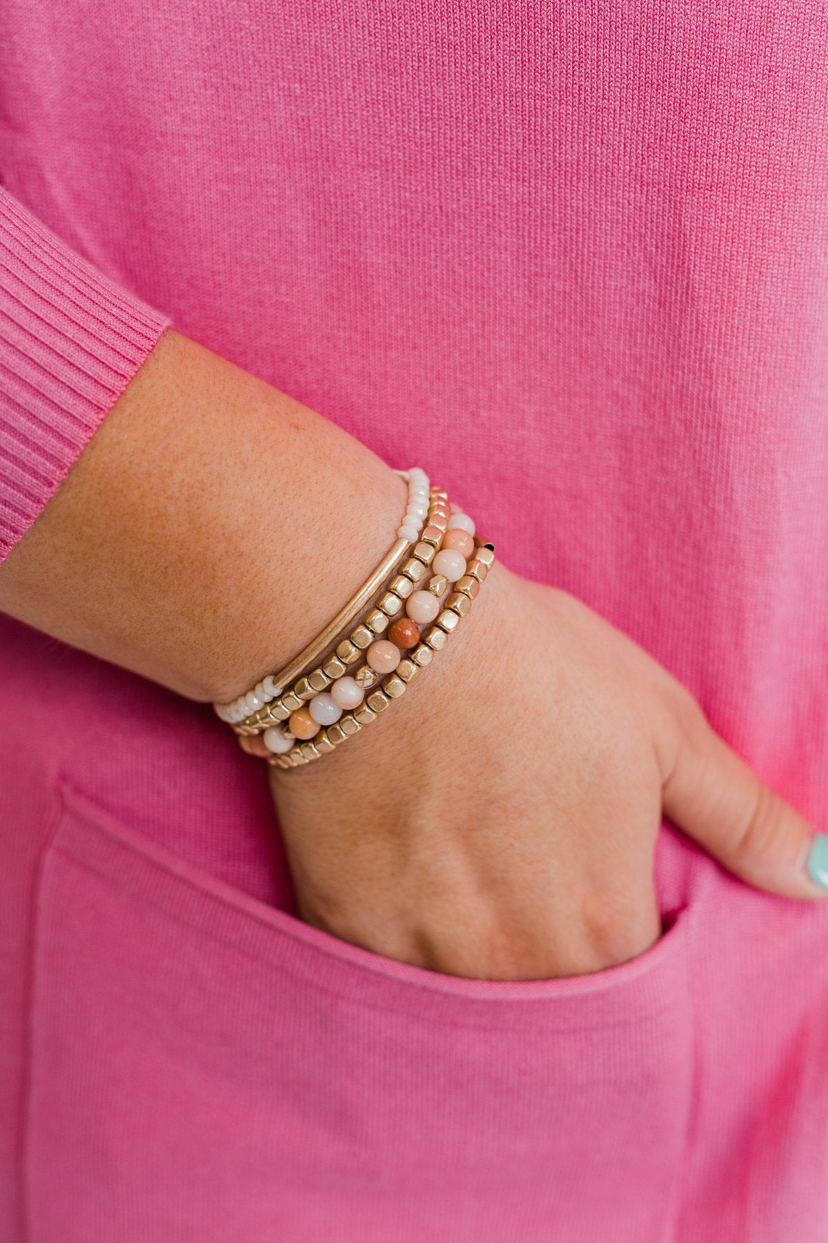 Ideal Beaded Bracelet Set- Pink Tones