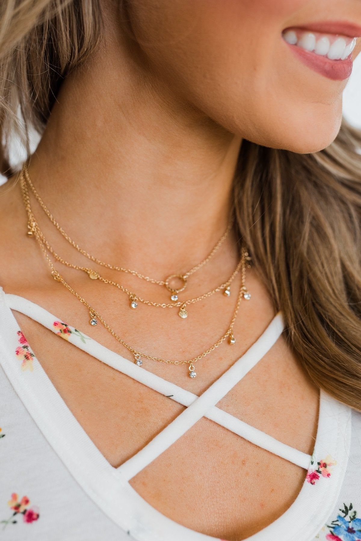Dainty 3 Tier Necklace- Gold