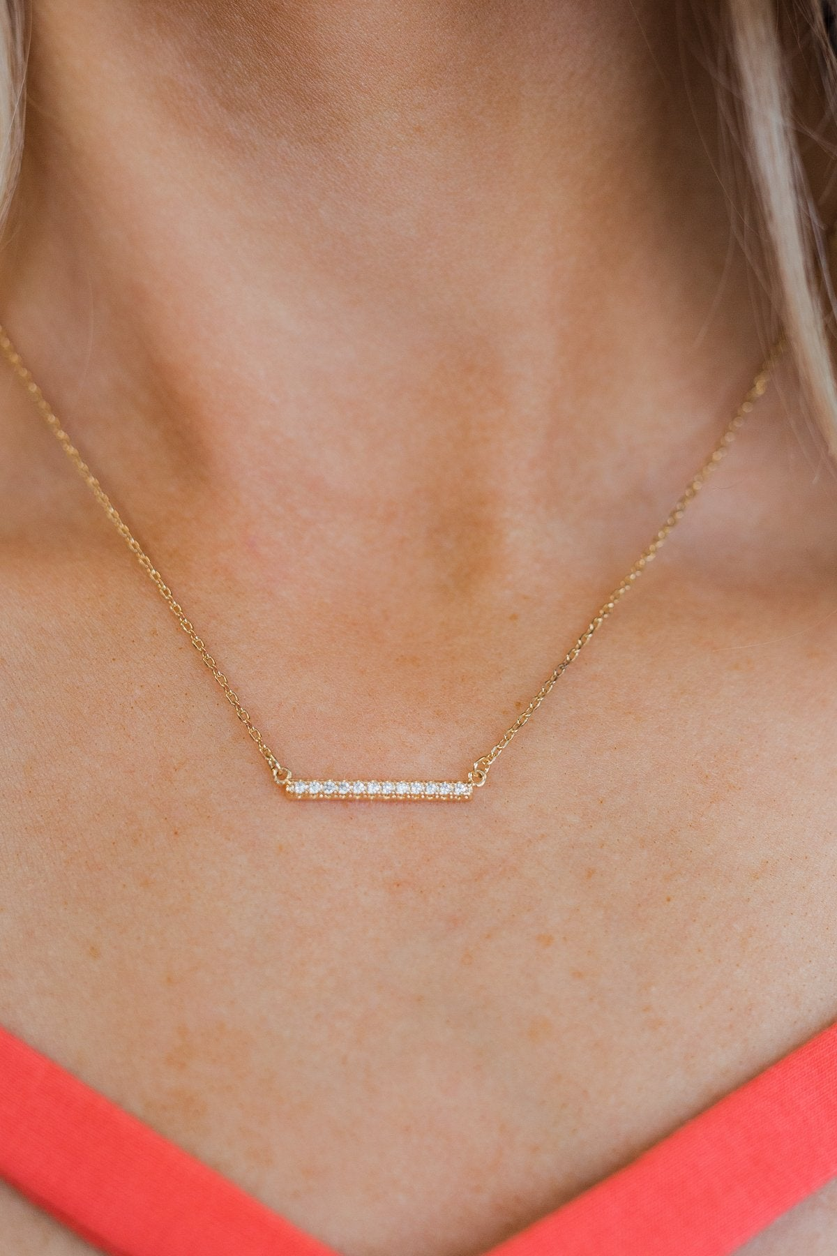 Studded Bar Necklace- Gold