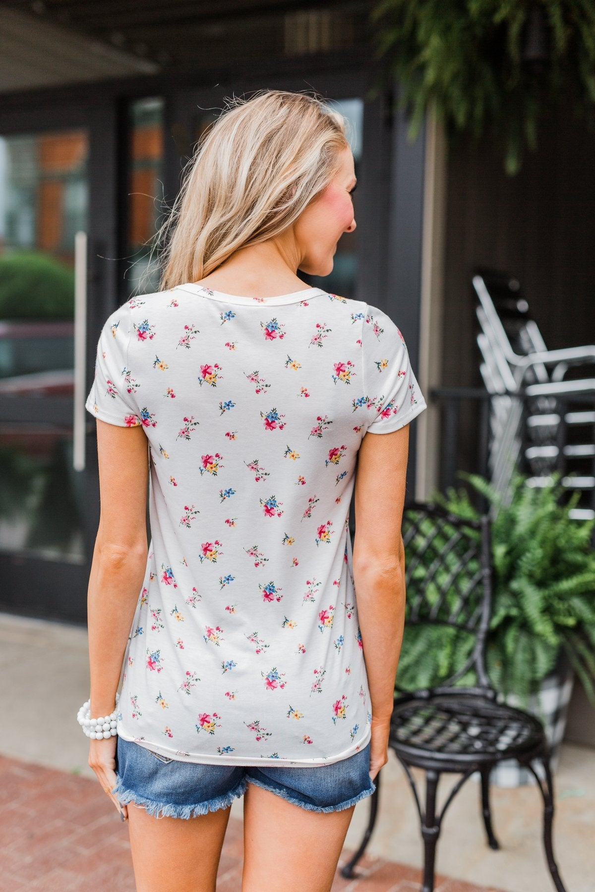 Meet Me in the Garden Floral Criss Cross Top- White