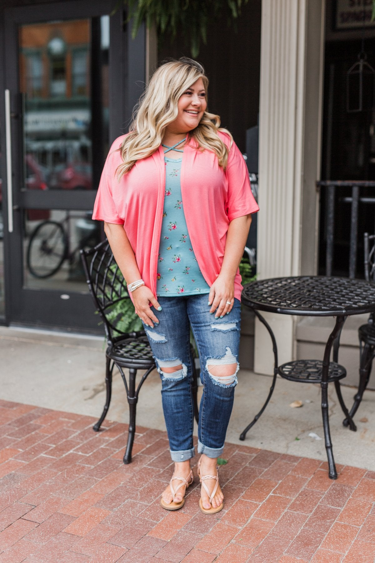Need For You Short Sleeve Kimono- Coral Pink