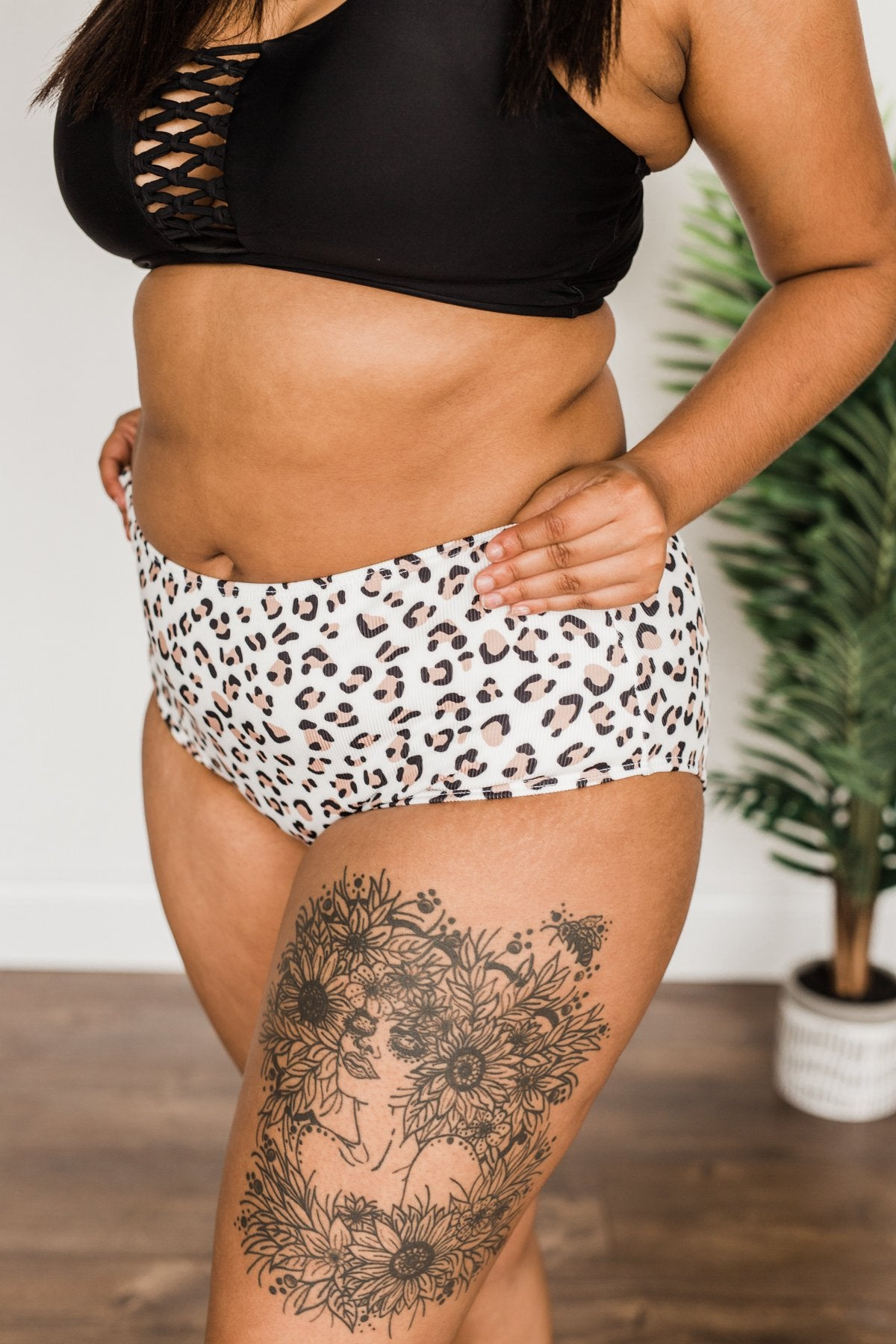 Truly Treasured Mid-Rise Swim Bottoms- Ivory Leopard