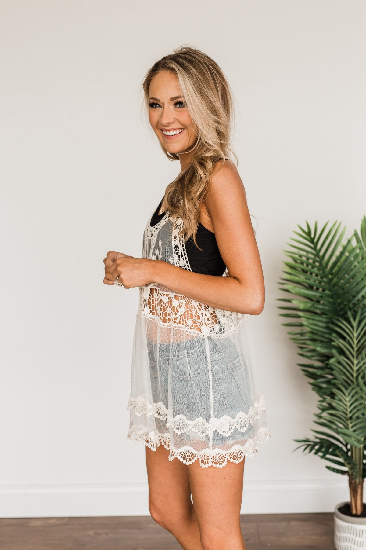 Shine Like The Sun Mesh & Lace Cover Up- Ivory