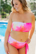 Tie Dye Bandeau Swim Top- Pink, Red, Yellow