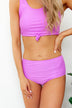 High Waist Swimsuit Bottoms- Solid Purple