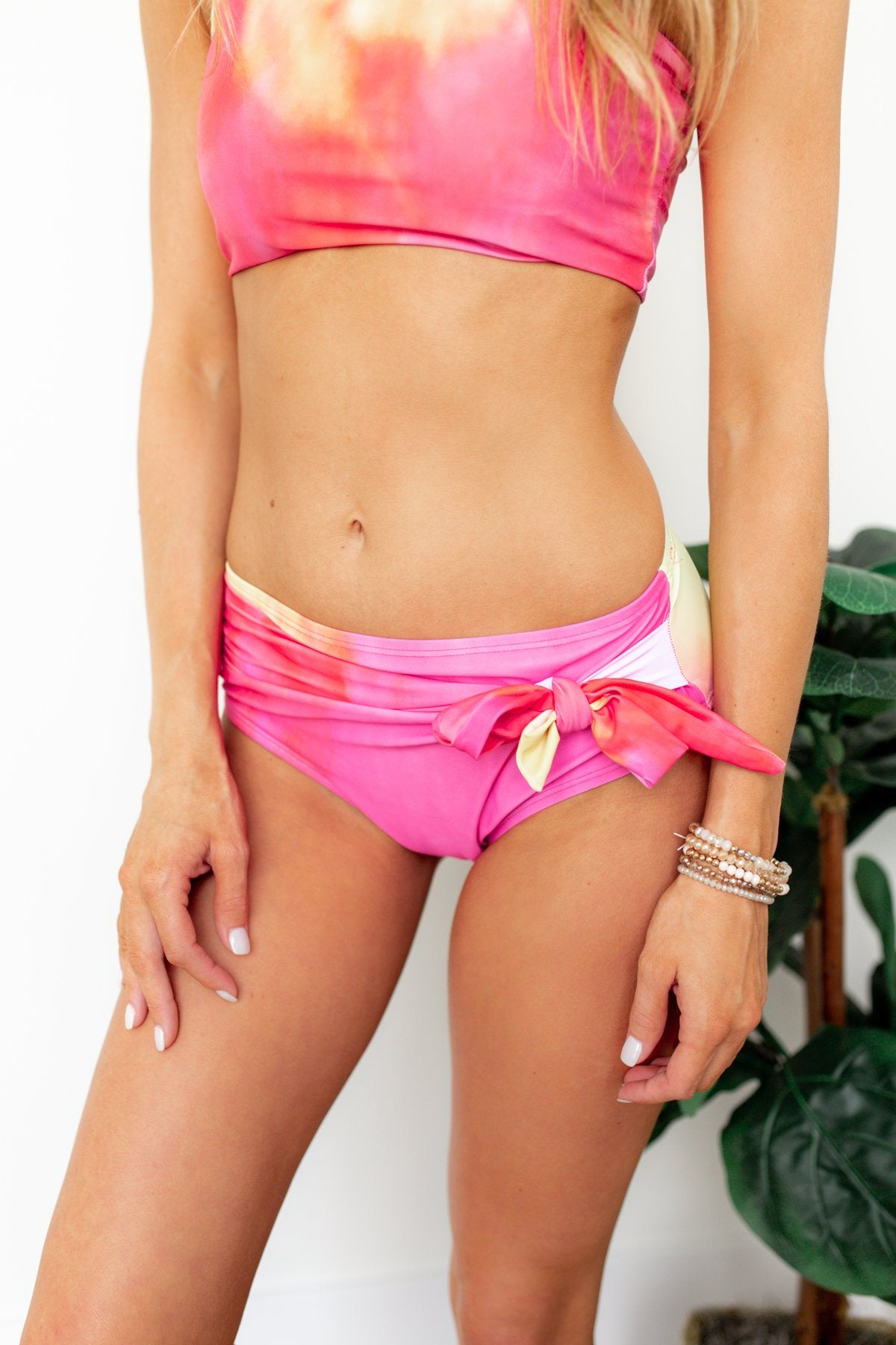 Tie Dye Side Bow Swim Bottoms- Pink, Red, Yellow