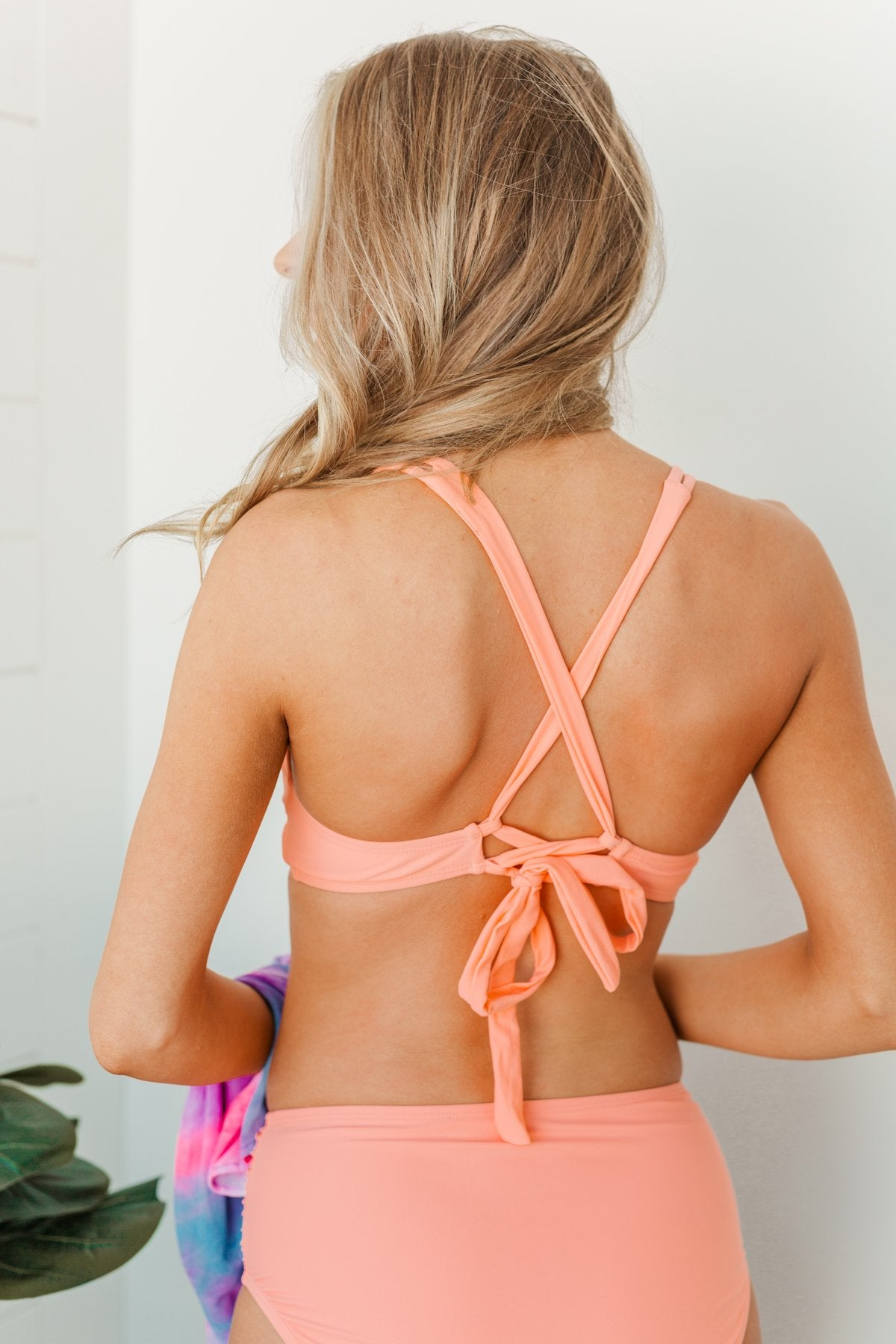 Sweet Sunshine Criss-Cross Bikini Top- Coral