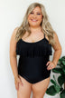One Piece Ruffle Swimsuit- Solid Black
