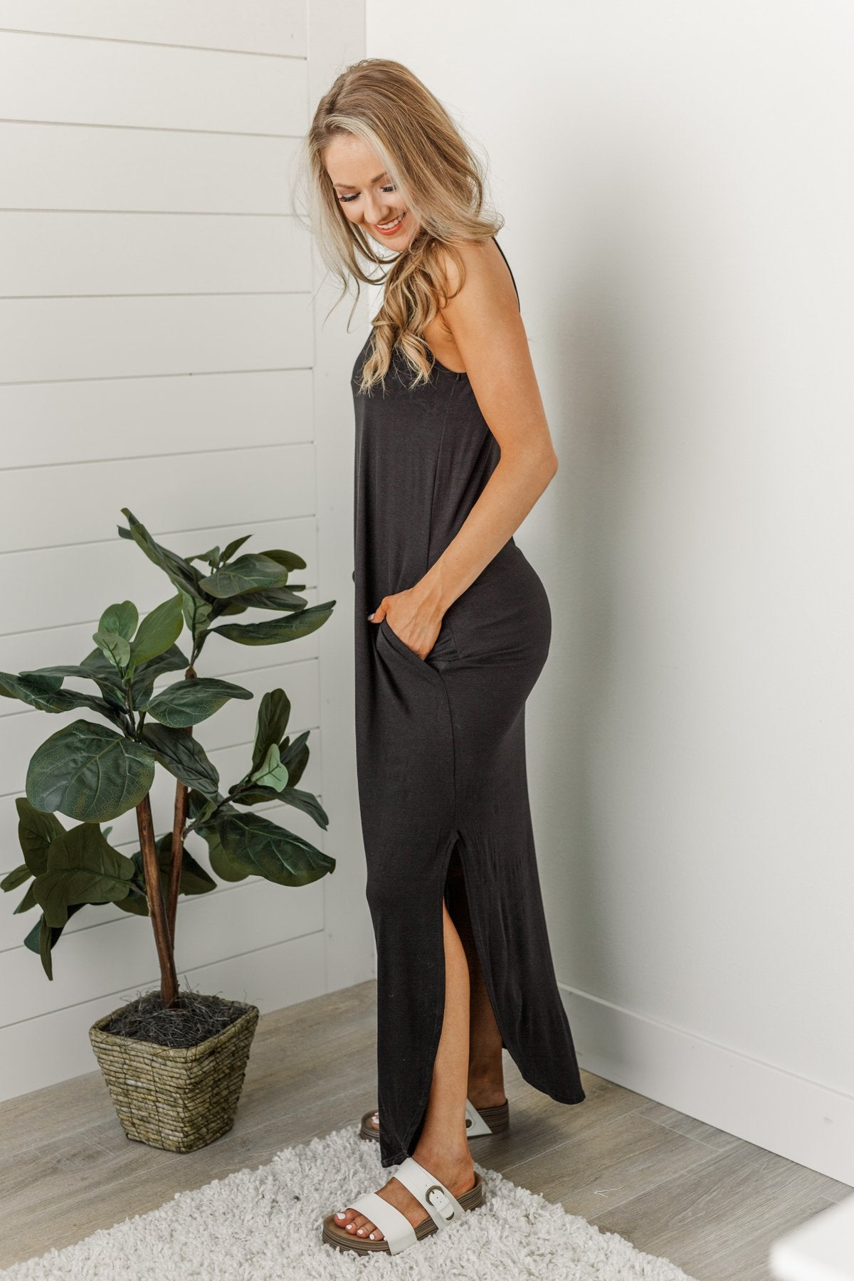 Be The Change Sleeveless Maxi Dress- Black