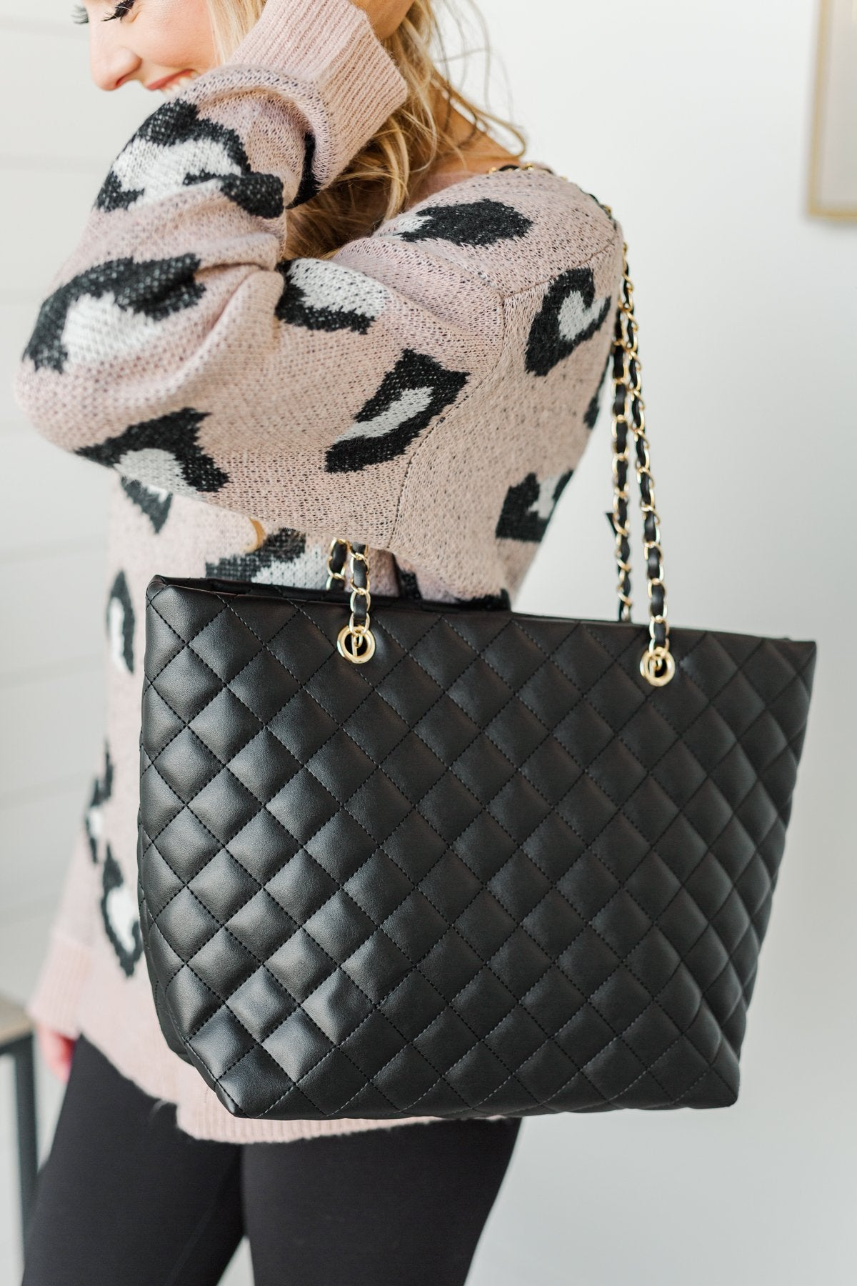 Everyday Quilted Tote Purse- Black