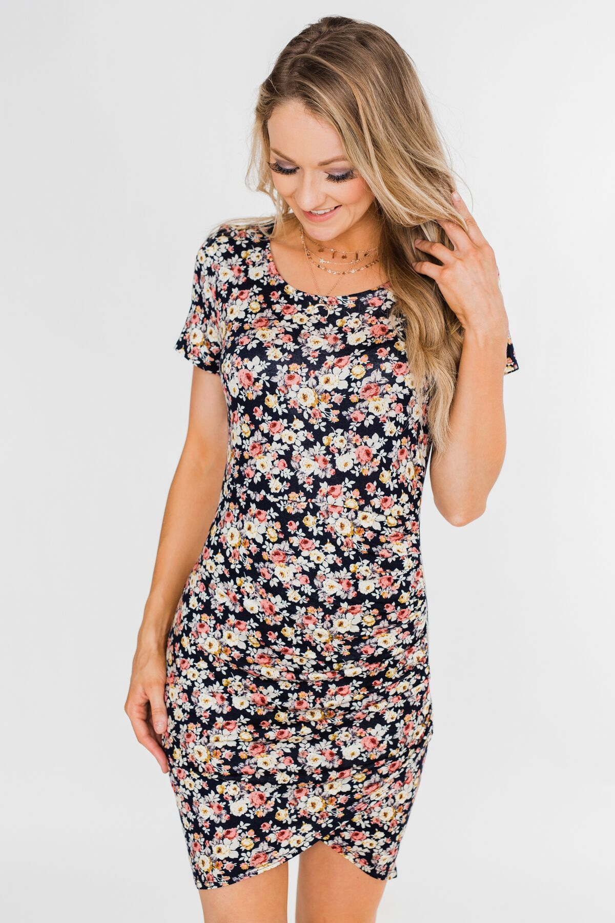 Floral Take Me Away Short Sleeve Dress- Navy