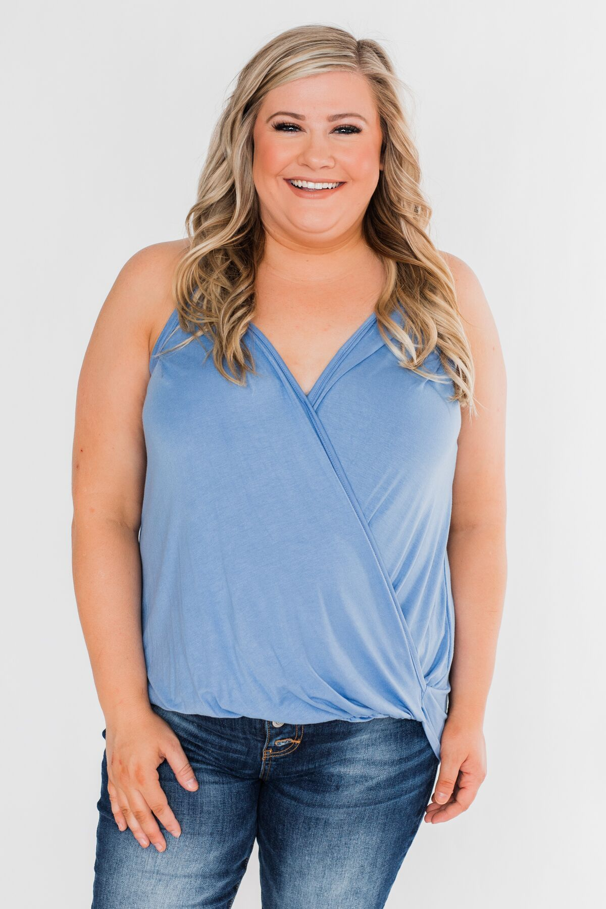 Something Simple Wrap Tank Top- Light Denim