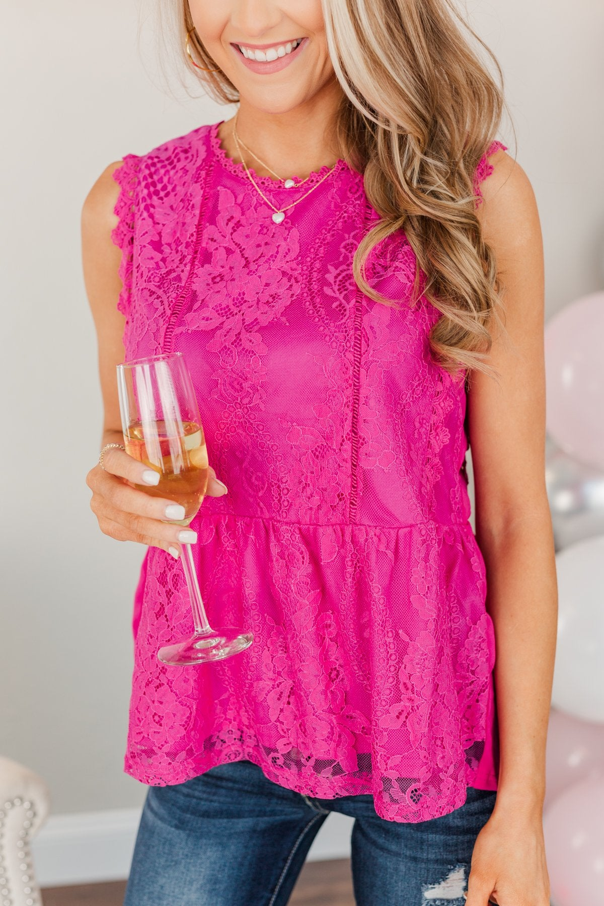 The Moment We Met Lace Sleeveless Blouse- Magenta