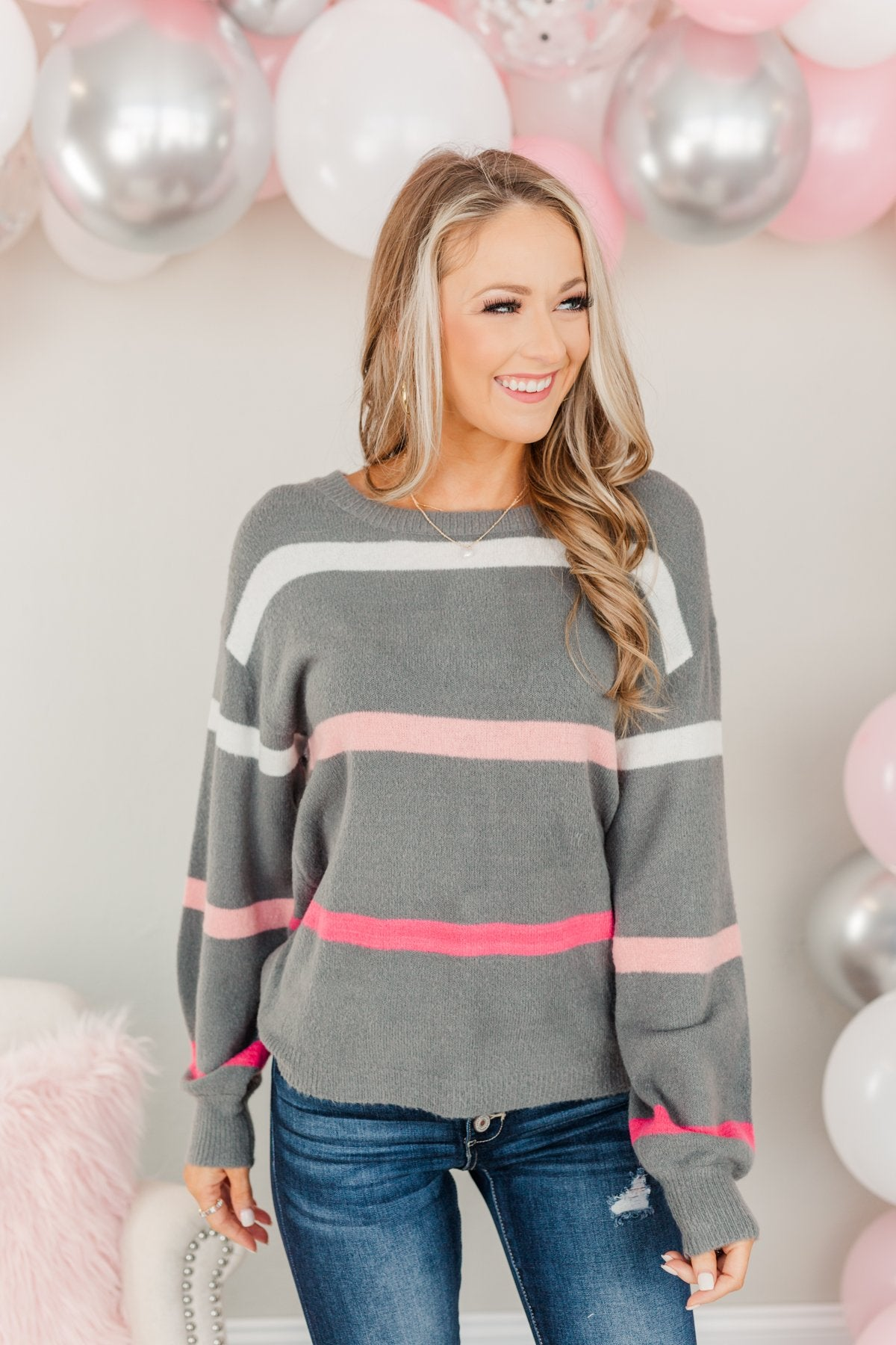 Found My Love Knit Sweater- Charcoal