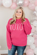"""XOXO"" Graphic Crewneck Pullover- Hot Pink"