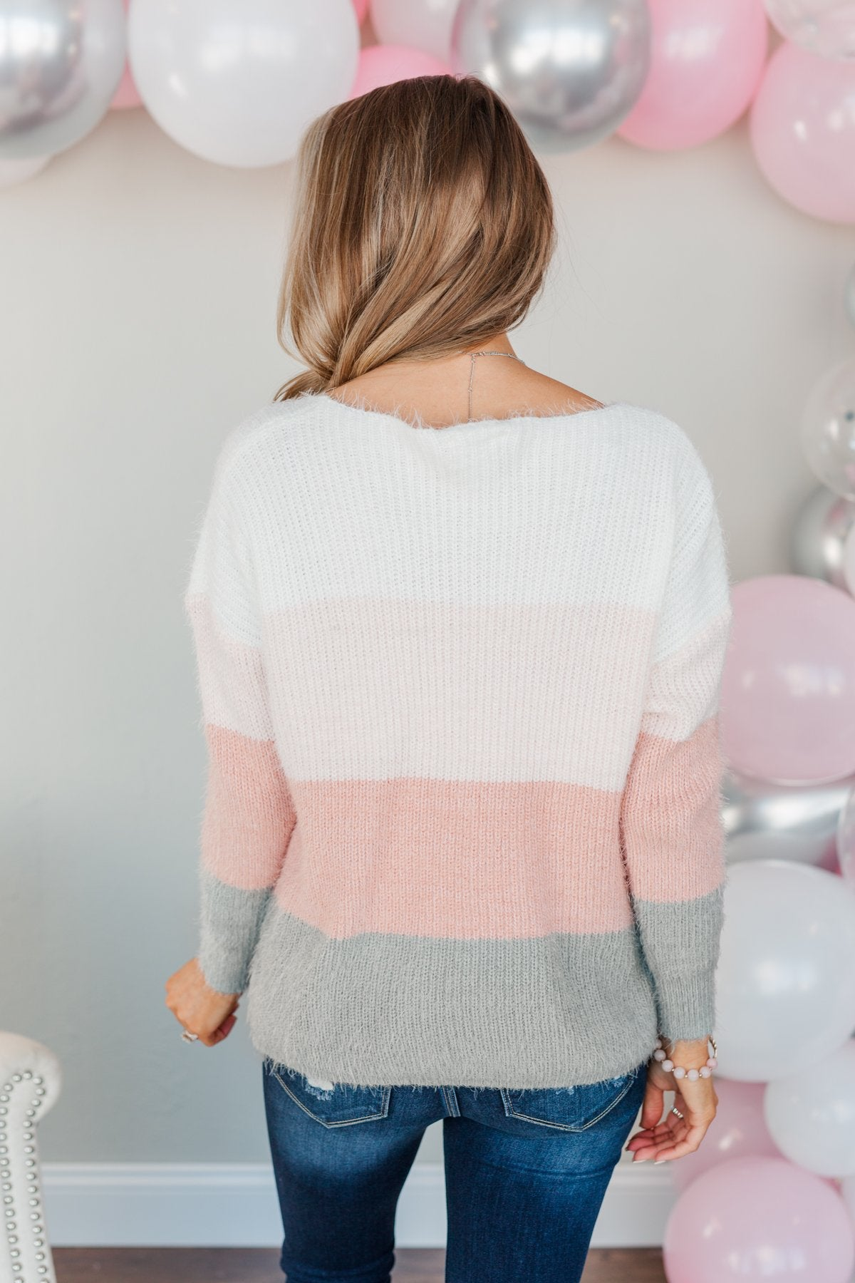 My Reason Why Knit Sweater- Ivory, Pink & Grey