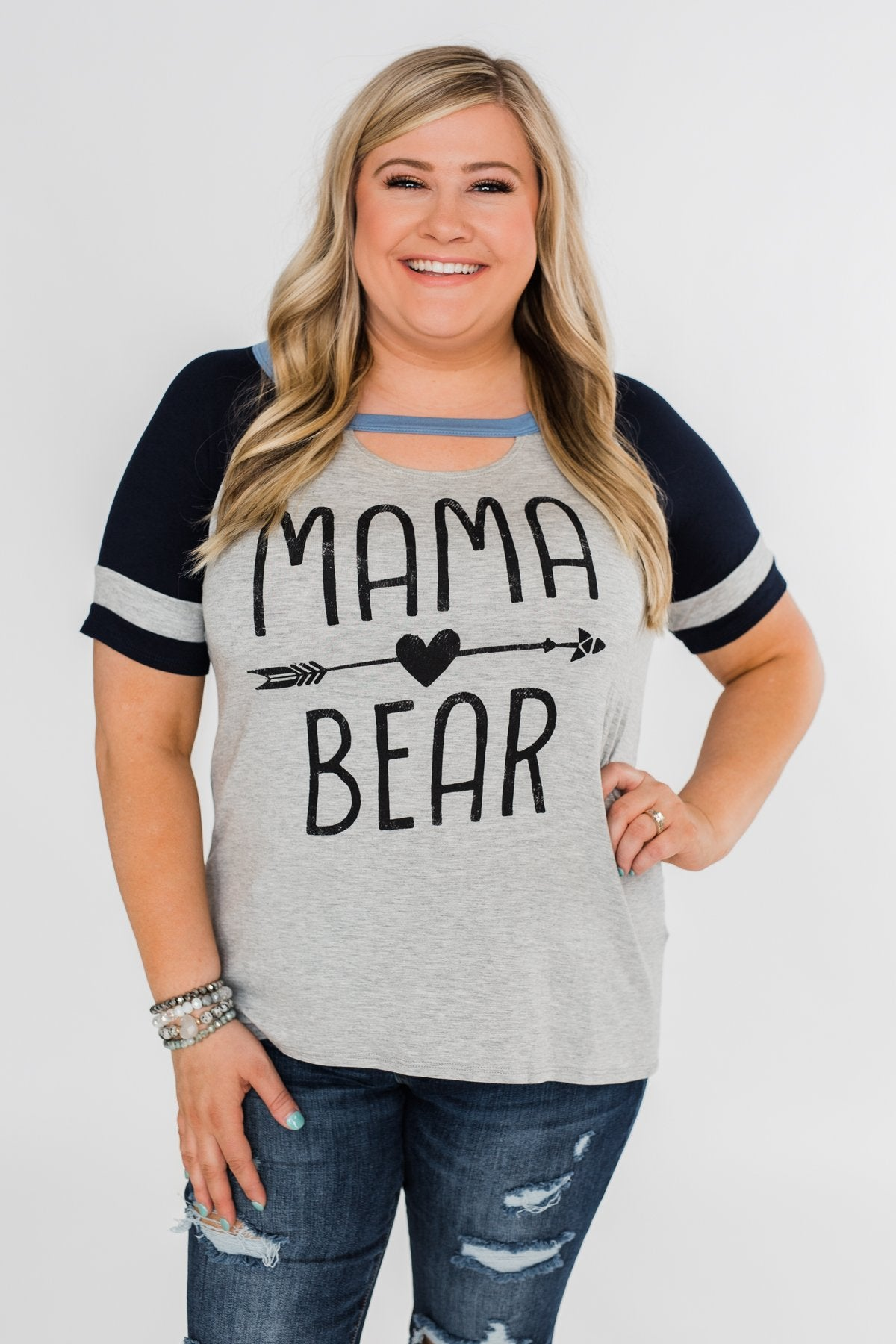 "Raglan ""Mama Bear"" Short Sleeve Top- Heather Grey & Navy"