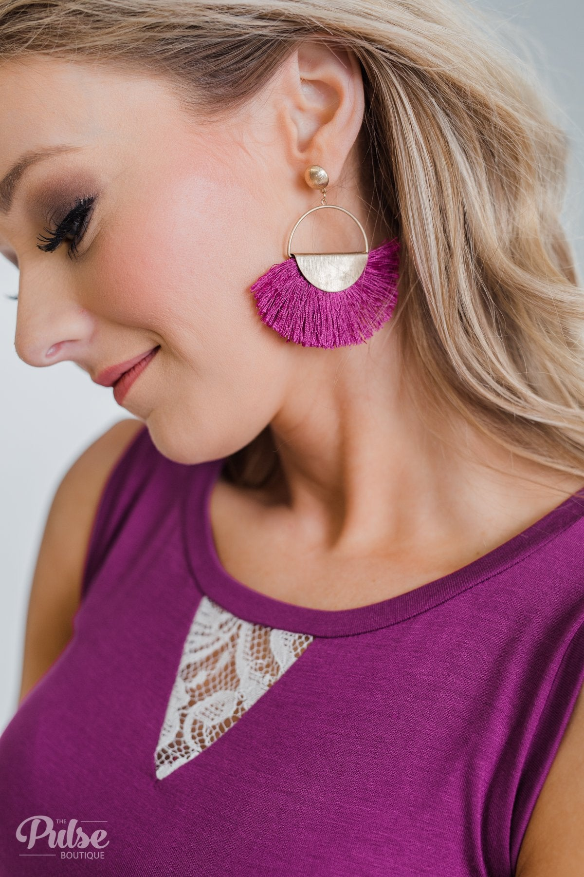 Flare Gold Hoop Earrings- Magenta