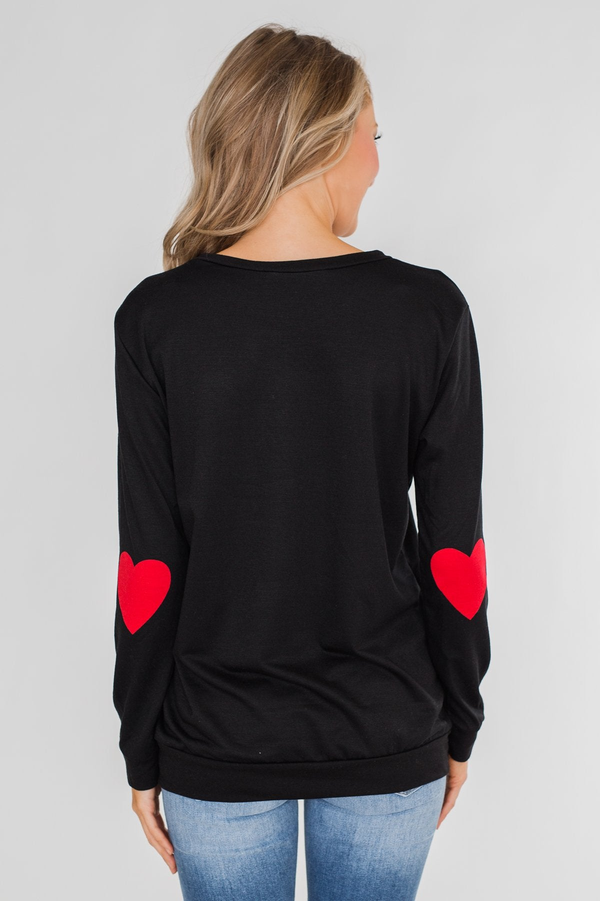 Struck By Love Heart Elbow Patch Top- Black