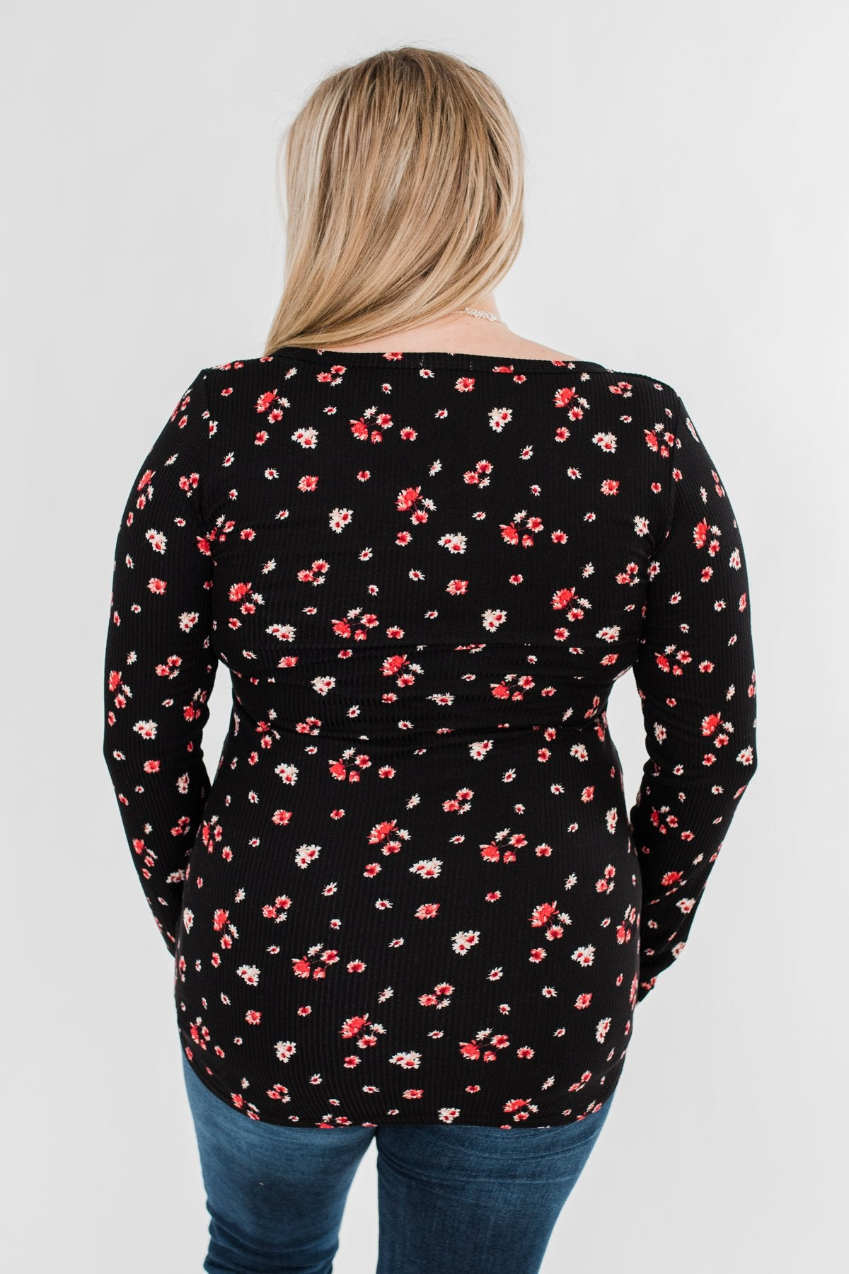 Work of Art Long Sleeve Floral Henley- Black