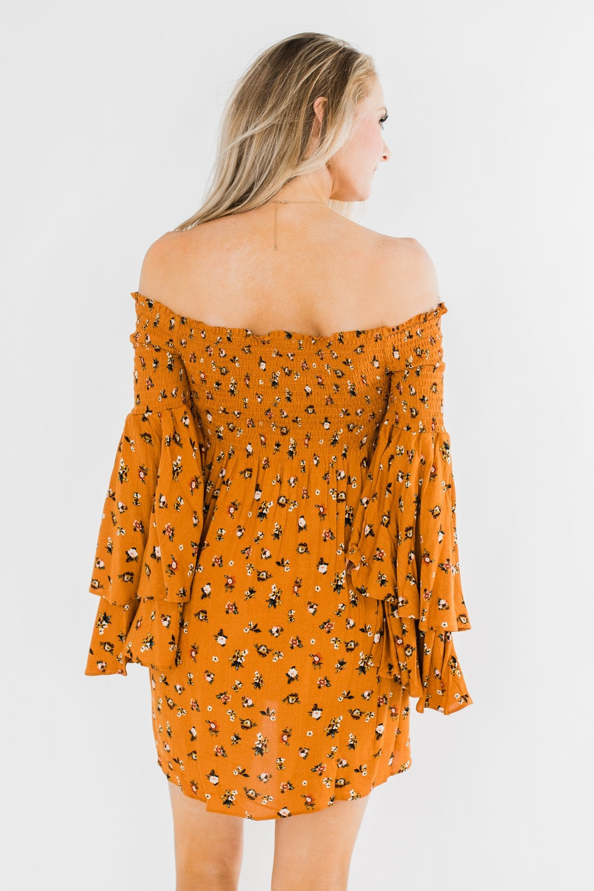 Love Is Forever Floral Cinched Dress- Burnt Orange