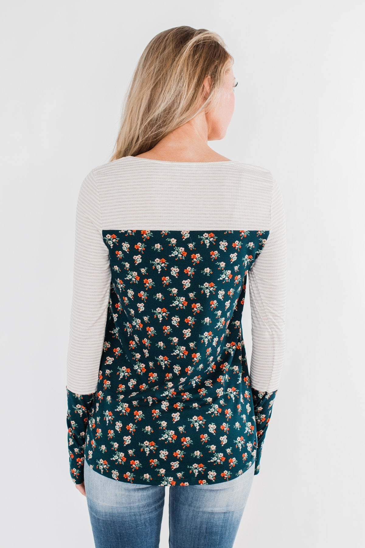 Time Of Your Life Floral & Striped Top- Dark Teal & Oatmeal
