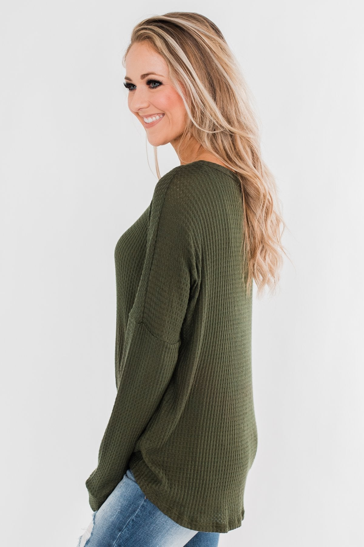 Thermal Button Knot Top- Dark Olive