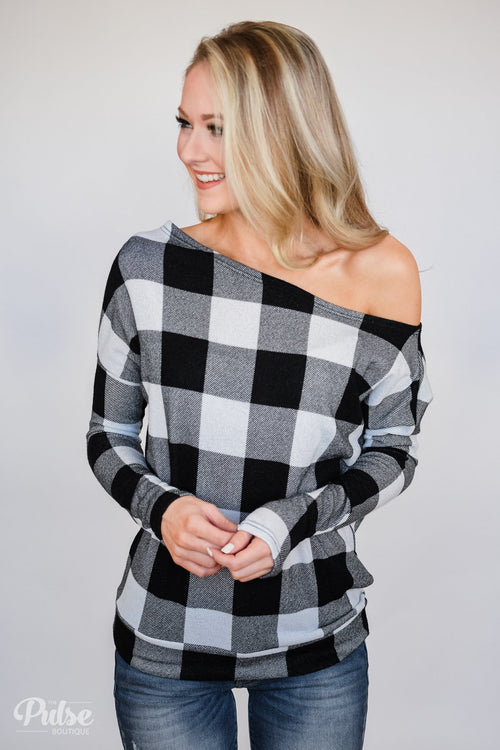 Head Over Heels For You Plaid Top- White & Black