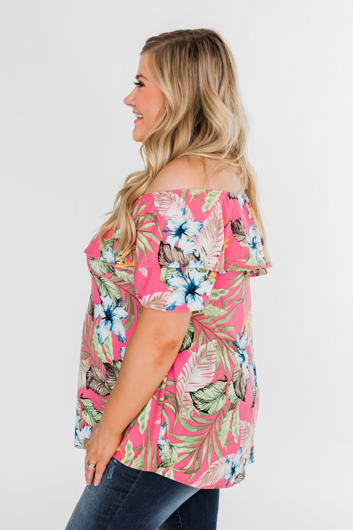 Floral Tropics Off The Shoulder Top- Pink