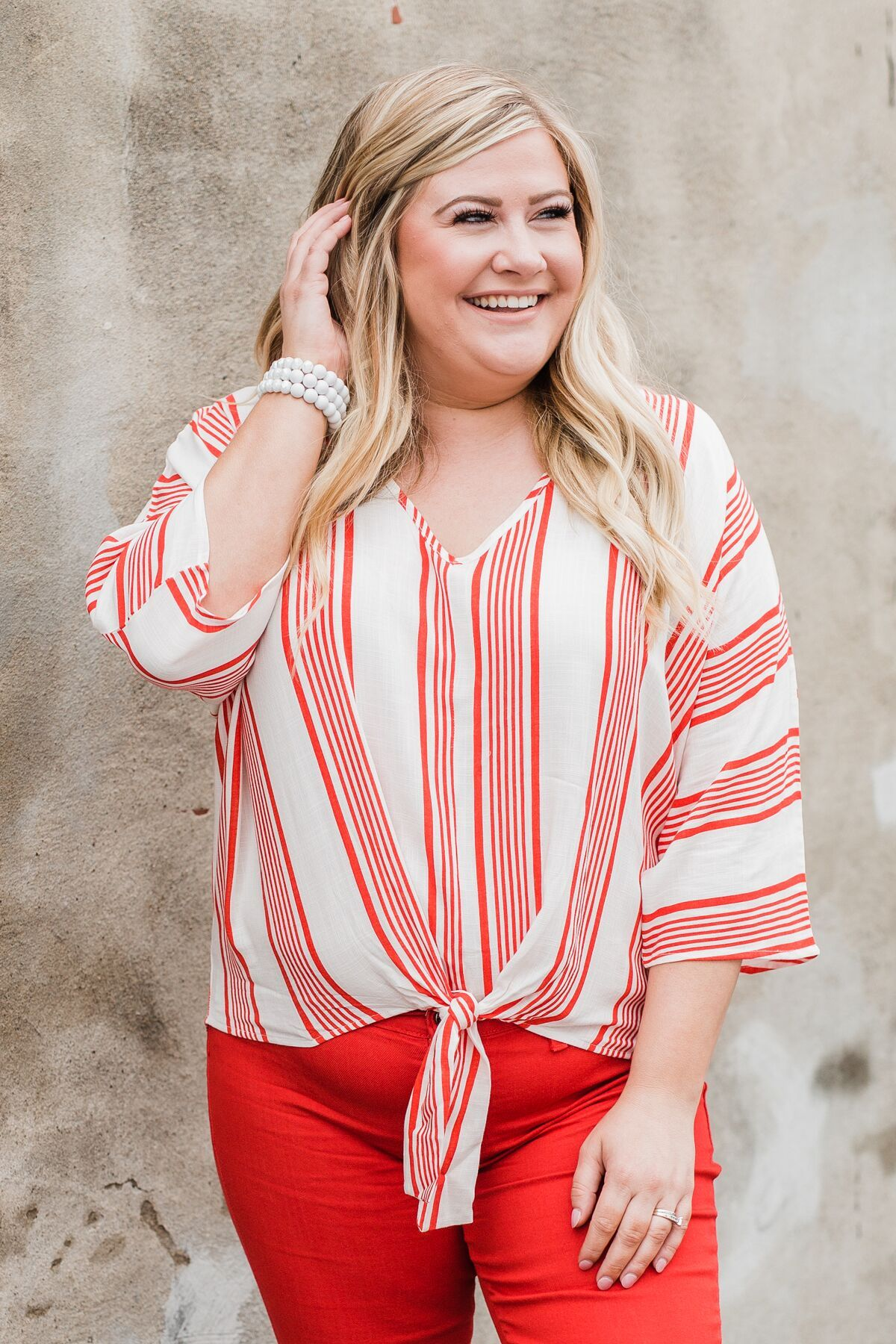 Celebrate the Day Striped Dolman Top- Red & White