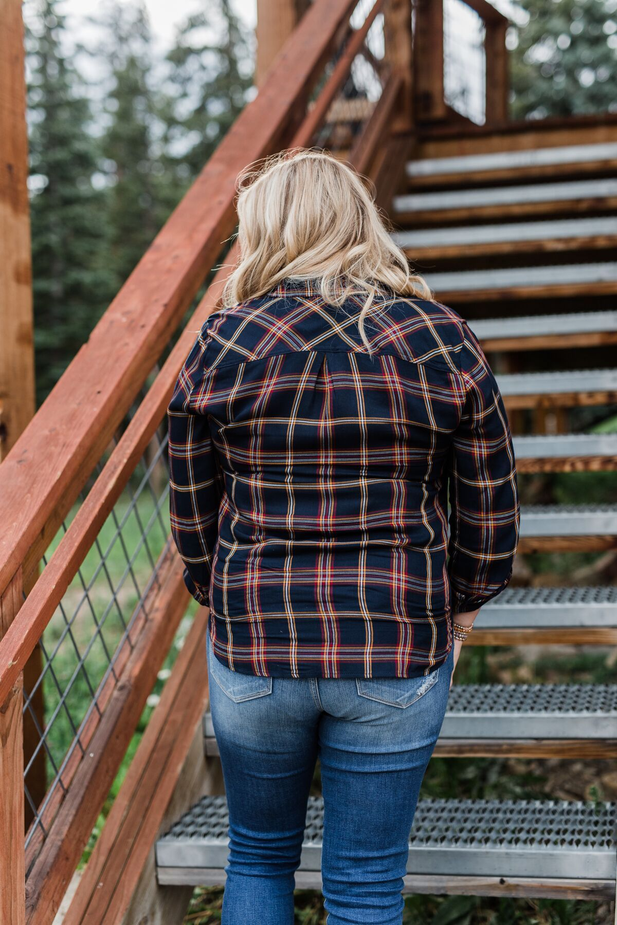 Carrying Your Love Flannel Button Up Top- Navy & Mustard