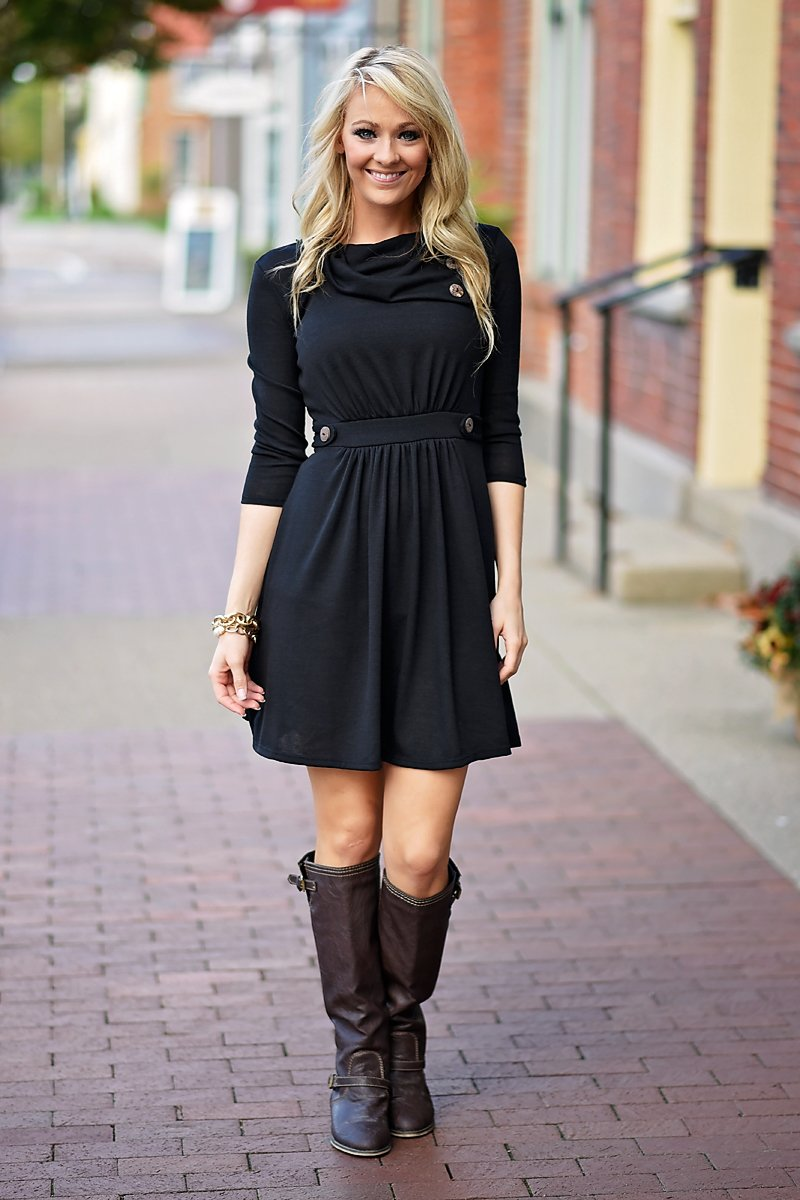 All Buttoned Up Dress - Black