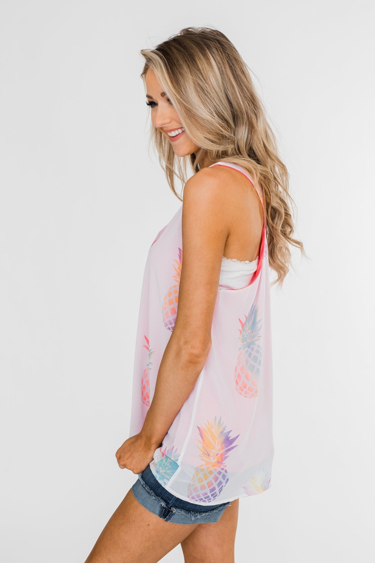 Life Is Sweet Pineapple Tank Top- Sheer White