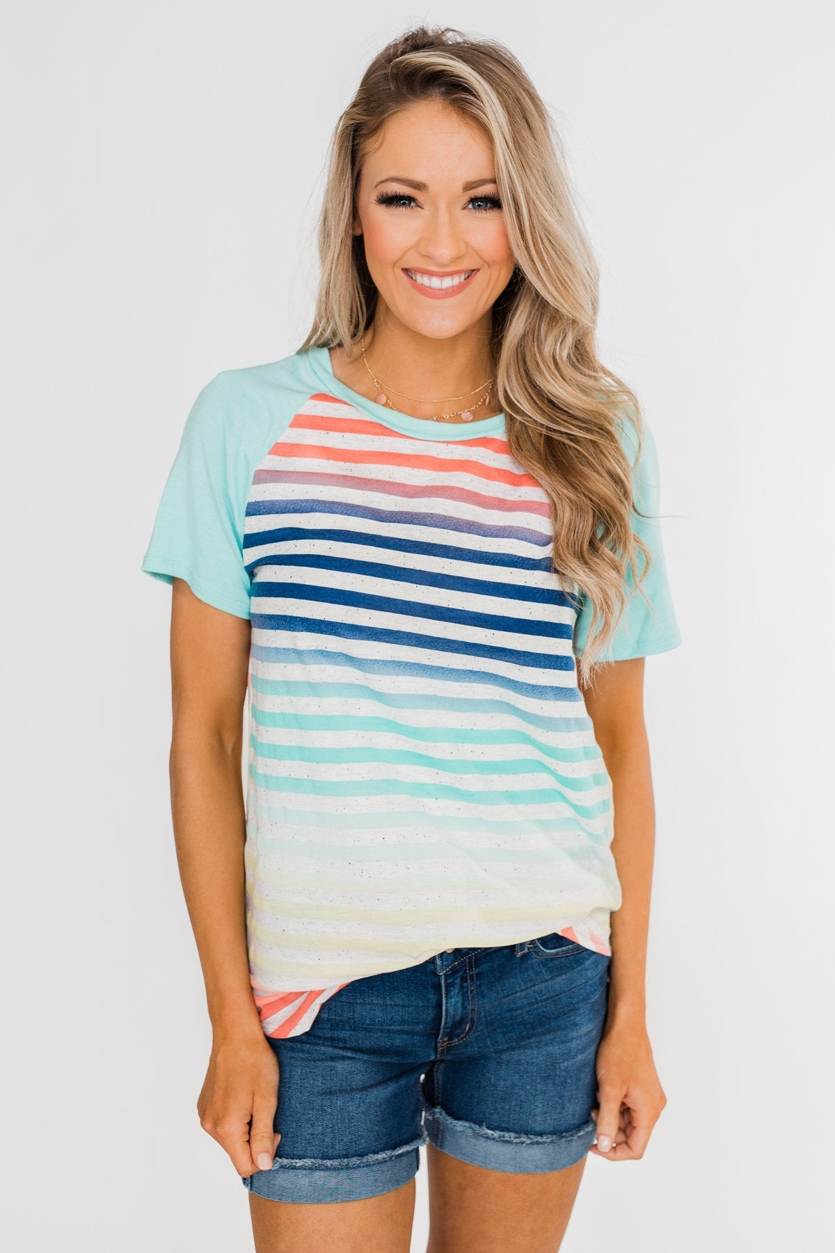 Summer Horizon Multi-Colored Striped Top- Light Blue