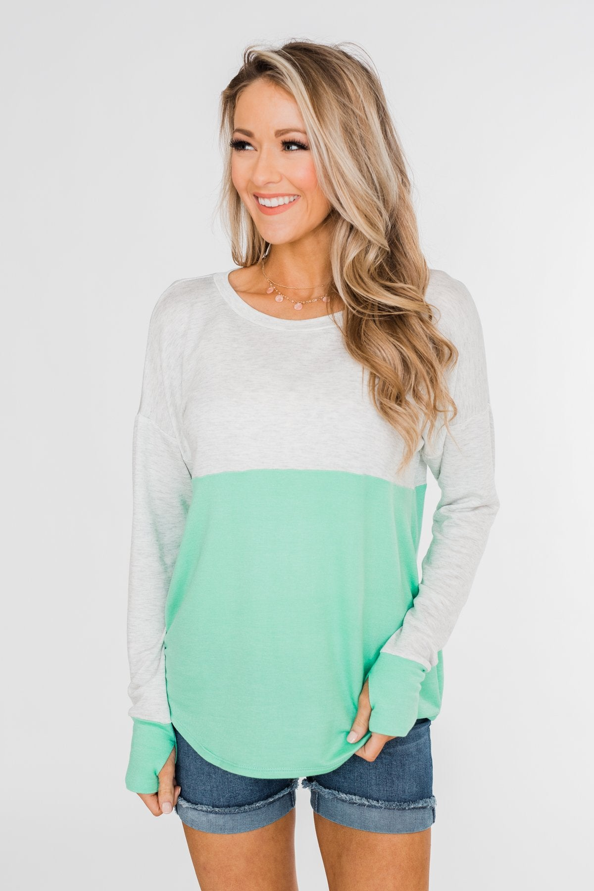 Color Block Thumb Hole Top- Mint