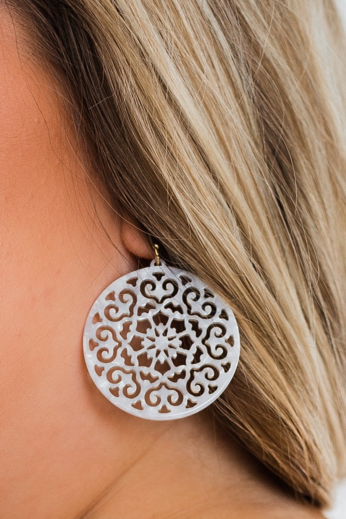 Fine Filigree Earrings- White